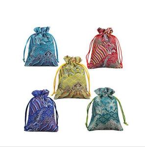 10x14 mcs Silk Brocade Drawstring Jewely Organizer Pouches Satin Christmas Gift Gifts Backpg Bag SHU20