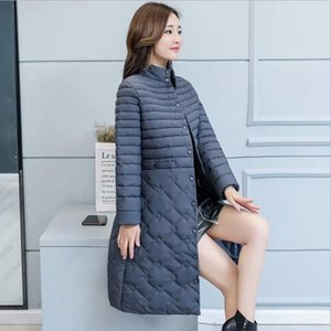 Winter Jacket Women Thin Section In The Long Paragraph Parka Autumn Winter Tide Stand Collar Slim Large Size Down Cotton Women