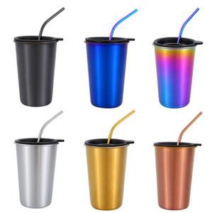 Tasses à café Nordique Gobelets En Acier Inoxydable Kits réutilisable verre de vin froid Potable Tasse De Voiture verres avec couvercles pailles 4 conceptions WZW-YW3646