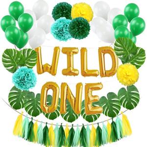 WILD ONE Enfants Premier Ballons D'anniversaire Artificielle Tropical Palm Feuilles Bébé Fille Garçon D'anniversaire Jungle Partie Décoration Fournitures