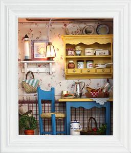Marco de madera de DIY 3D mini Dollhouse Casa - W002 almuerzo tranquilo