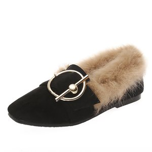 European Brand Ladies Shoes Fur Flats 100% Rabbit Hair Moccasins Comfy Loafer Women Oxford Furry Shoes Metal Buckle Flats Winter