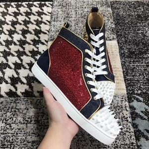 Mode Pik Pik Spikes Luxuriöse Louisflats Red Bottom Sneakers Schuhe für Frauen, Männer Strass High Quality Party Hochzeit Freizeitschuhe