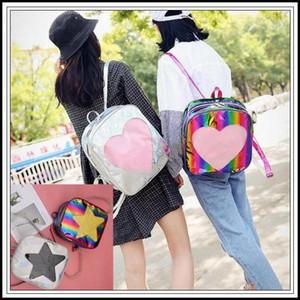 4 estilos do amor do coração Forma mochila sacos de ombro escola para meninas adolescentes Ita Bolsa PVC Laser Transparente Holograph externas 30pcs sacos CCA9868