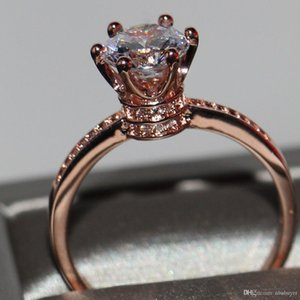 2020 Crown Wedding Band Ring for Women Luxury Jewelry 925 Sterling Silver Rose Gold Filled Round Cut White Topaz Female Engagement RingGift