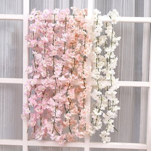 180cm Artificial Cherry Blossom Flowers Garland Faux Silk Hanging Vine For Wedding Party Arch Home Decor String