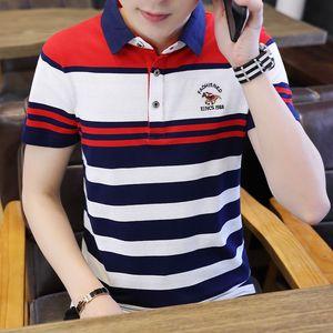 YASUGUOJI New 2019 Summer Fashion Contrast Color Short Sleeve Polo Shirt Men Casual Striped Mens Polo Shirts Polos Para Hombre T200528