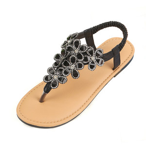 Verano Rhinestone mujeres de las sandalias planas de los zapatos Diamante Bling de la manera 2019 sandalias de la playa Negro Oro Plata Sandles