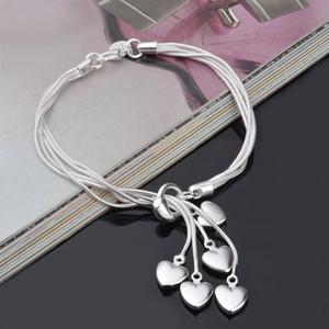Silver Plated Luxury Designer Jewelry Women Bracelets Chain Charm Heart Love Pandora Bracelets Bangles Gifts Jewelry