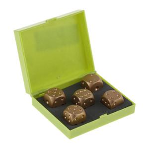 5 adet / set Altın Küp Zar Hediye Role Play Games, tamamen alüminyum alaşım depolama kutusu ile 6 taraflı nokta dices