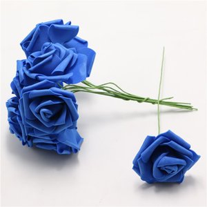 Royal blue Artificial Bouquet Foam Rose FMarry DIY Crimpen Dekoration Blume Hochzeit Braut neuen Entwurfs-100pcs / pack senkt mit Stiel