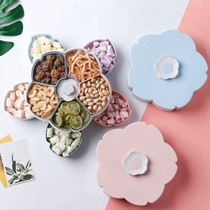 Petal-Shape Rotating Snack Box Candy Tray Food Storage Box Wedding Candy Plates Double-Deck Dried Fruit Organizer Storage B