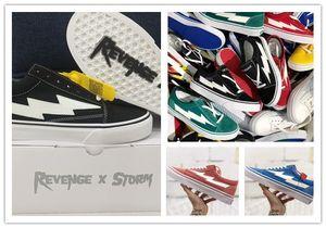 New Style Revanche X tempête Old Skool Skateboard Chaussures Femmes et Hommes Flamme causales Blanc Jaune Feu Noir Sneakers 36-44