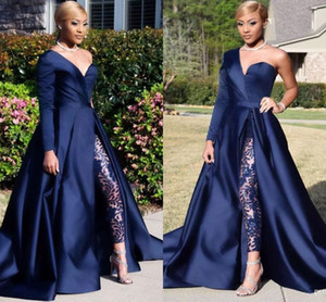 2020 Dubai One Shoulder Evening Dresses Pant Suits A Line Royal Navy High Split Long Sleeves Formal Party Jumpsuit Celebrity Prom Gowns