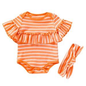 Bebé de las rayas de los mamelucos imprimió la historieta Onesies infantil bebé recién nacido de chicas Ropa Casual Vêtements de Bebé Niño Mono 060514