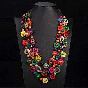 YD YDBZ Naturholzperlen Halskette Lange Halsketten-Strickjacke-Ketten-Halskette für Frauen-Ansatz Dekoration Collane Donna