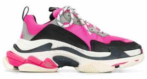 Mens Женщины Бежевый теннис Повседневная обувь моды Париж 17FW Triple-S бежевая кожа тапки Тройной Chaussures