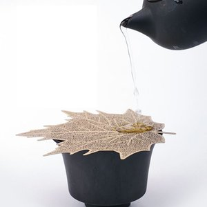 Leaf Mesh Tea Infuser Strainer Loose Leaf Spice Filter Cover Hollow Out Tool Leaf shape Tea Pot Kung Fu Tea Strainer LJJK1824