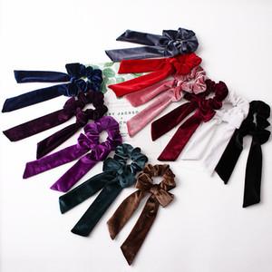 velvet Streamer Hairbands for Girls Women Headwear Turban DIY Bow Streamers Hair Scrunchies Ribbon Hair Ties Horsetail Ties Solid Head Wrap