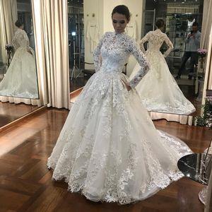 Muslim Wedding Dresses Dubai Lace Long Sleeves Bride Dress Arabic 2020 Romantic African Turkey Bridal Gowns
