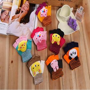 Luvas Xmas Criança dedos de animais em 3D Impresso Crianças malha doce cor Luvas Boy Student menina do inverno luvas quentes WY204Q