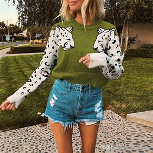 Leopard modello progettista delle donne Maglie maniche Moda rivestite Pullover collo di squadra delle donne maglioni casual femmine Abbigliamento