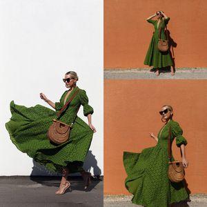 2020 New Green Ankle Length Formal Party Dresses Deep scollo a V maniche lunghe pieno pizzo casual donne Cocktail Prom Abiti da sera Cheap Wear