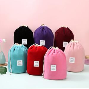 Große Kapazität Corduroy Barrel Make-up-Speicher-Beutel Kosmetische Organizer-Taschen Reisetaschen