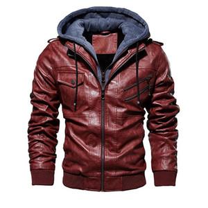Moda Marka Erkekler PU Deri Ceketler Kış Yeni Erkekler Rahat Deri Ceket Erkek Rahat Kapüşonlu Deri Ceket Kaban Boyutu M-4XL