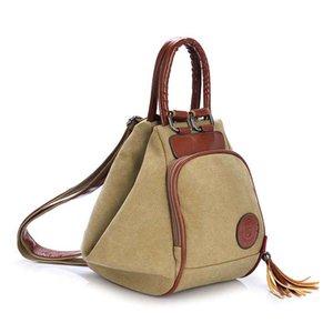 Fashion Canvas Rucksack Frauen-Freizeit-Rucksack Damen Knapsack beiläufige Rucksäcke für Schule Teenage Klassischen Bagpack mit Quaste