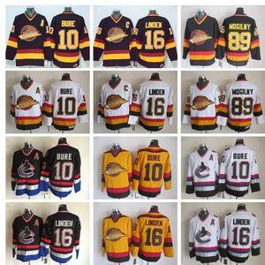16 Trevor Linden Hockey Trikots Herren Vancouver Canucks Vintage-CCM 10 Pavel Bure 89 Alexander Mogilny genähtes Schwarz Weiß
