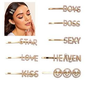 Pearl letras Bobby Pasadores de pelo Pasadores de la palabra Clip Sparkly Hair Barrettes Bling Accesorios de oro Boda Nivel de novia para mujer Señoras (8 piezas, Lov