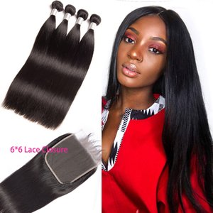 Peruvian 100% Human Hair Extensions Straight Bundles With 6X6 Lace Closure 4 Pieces lot Virgin Hair Wefts With Six By Six Closure
