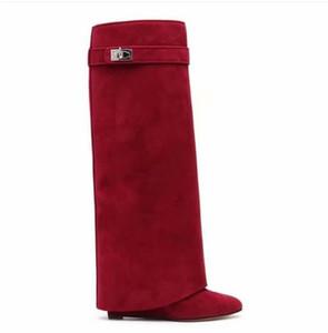 Klassische Suede Womens Long Boots Silber Shark Sperre Kniehohe Stiefel Größe Spitzschuh Pumpen Motorrad Booties mit hohen Absätzen Schuhe