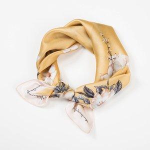 53 * 53 centímetros Tie Faixa de Cabelo Enrole Handkerchief Acessórios do pequeno quadrado da flor de cetim Chiffon Impressão Scarf Neck Scarf Mulheres