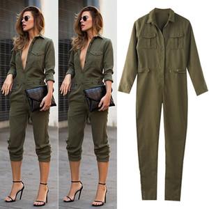 Sıcak Kadınlar Uzun Pantolon Tulum Ordusu Yeşil Bayanlar Sonbahar Uzun Kollu tulum Günlük Giysiler