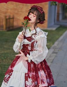 Lolita dress vintage bowknot cute printing high waist princess victorian strap dress kawaii girl gothic lolita cos loli