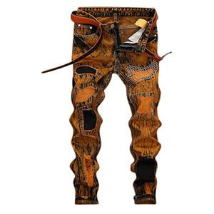 Hemiks Erkekler'S Skinny Denim Jeans Düz Slim Fit Biker Jeans ile Fermuar Hip Hop Pantolon İlkbahar Sonbahar Moda Pantolon Ripped