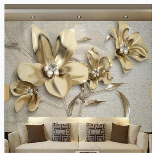 golden three-dimensional jewelry flower 3D wallpapers TV background wall modern wallpaper for living room