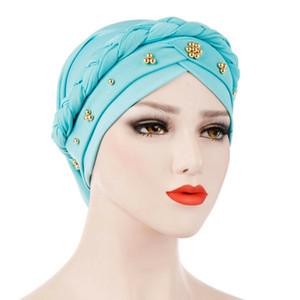 2019 Neue Verpackung Haarausfall Kopftuch muslimischer Frauen Indian Style Stretchable Chemo Plissee Turban Hat Hijab Stirnband-Zusätze