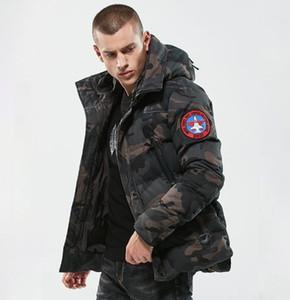 Casual de los hombres Parkas Camuflaje Grueso Cálido Chaqueta de Invierno Militar Con Capucha Acolchado Abrigo Bordado Jaqueta masculino Inverno