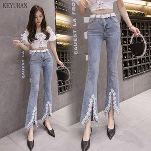 Femme Jeans 2020 Femme Été broderie perlage taille haute Skinny Jeans Flare femmes longueur cheville Pantalons Denim Cowboy Tassel