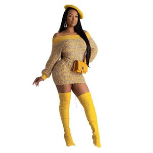 Slash Neck Frauen-Bleistift-Kleid Langarm Panelled Designer Damen Minikleid Spring Fashion Damen Freizeit-Kleid