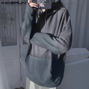 Korean Fashion Men Gradient Long Sleeve Hooded Sweatshirt Joker Comfort Baggy Mens Casual Pullover Hoodies Big Pockets