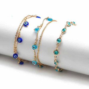 Lucky Eye Turkish Evil Eye Anklet Gold Color Copper Beach Foot Chain Leg Ankle Bracelet Adjustable for Women Girls Jewelry