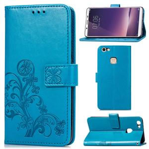 Téléphone couverture de cas pour Vivo Y75S PU cuir avec carte de portefeuille Porte-gaufrée chanceux à quatre feuilles Motif (Modèle: Y75S)