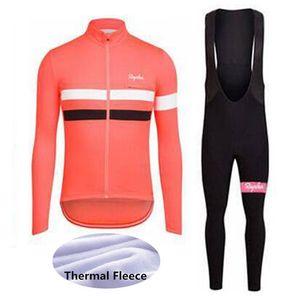 2019 UCI World Tour Зимний термический флис команда Rapha с длинным рукавом Велоспорт Джерси нагрудник брюки набор MTB велосипедная одежда на открытом воздухе Sportswear Y051309