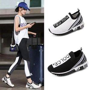 2020 mulheres novas dos homens Casual sapatos de luxo Sneakers Sock SapatosDolceGabbanaTop Quality couro genuíno bordado EUR 35-45