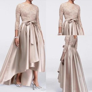 Sexy Long Sleeves Lace High Low Mother Dresses Crew Neck Satin A Line Bow Sash Formal Party Prom Evening Cocktail Dresses BA9951
