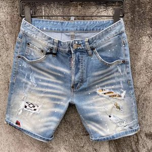 2020 moda stil yaz erkek Denim kısa Coolguy Jean Nakış pantolon delik kot düğme erkek pantolon D66